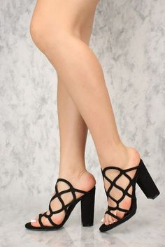 c41e88a7766 Sexy Black Cut Out Open Toe Chunky Heels Single Sole  StilettoHeels