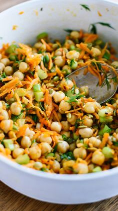 Make this carrot chickpea salad recipe and enjoy it for days! It packs great for lunch, too.