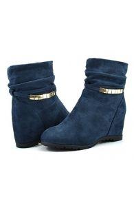 DREAM PAIRS COLINE Women's Casual Hidden Wedge Side Zipper Fuax Furs Line Booties Shoes