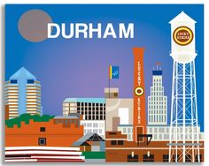 Durham wall art is available in an array of finishes, materials, and sizes, this retro inspired art print will make Durham feel close to your heart with its bright color palette and unique design. You