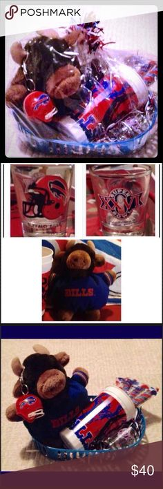❤️BUFFALO BILLS BASKET!❤️ BUFFALO BILLS GIFT BASKET! All items are either NWT or in very good/ great condition! Many are vintage memorabilia, as well❤️ Makes a great gift set for diehard Bills fan, or keep for yourself!  This basket includes: 1) A Super Bowl XXVI shot glass 2) A Bills reusable souvenir cup which has 6 red, white & blue lollipops inside of it 3) A 1992 Bills helmet keychain 4) An NFL vintage collectible & very rare Bills mascot beanie Other