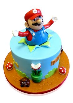 Super Mario Game Cake  This fun Mario cake was made for a graduation! It sure put a smile on everyone's face! The occasion catered for 30 people, so we decided that a one tier cake would be sufficient. We started with a round base and covered it in a light caramel shaded fondant to look like a paved piece of ground... http://cmnycakes.com/gallery2/v/Cakes+For+All+Occasions/Super+Mario+Game+Cake.html?