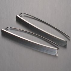 Sterling Silver Bar Pull Through Earrings by ColieArt on Etsy