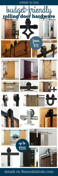 Where to buy budget-friendly rolling door hardware for barn doors -- such a great list, everything under $200 and a bunch under $100! @Remodelaholic