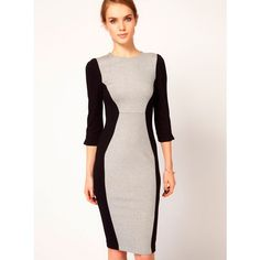French Connection Contrast Panel Body Con Dress, £89 - curvy body... via Polyvore