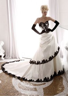1000 images about black accent wedding dresses on for White wedding dress with black accents
