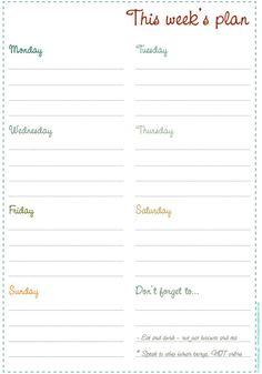 nice printable weekly planner page