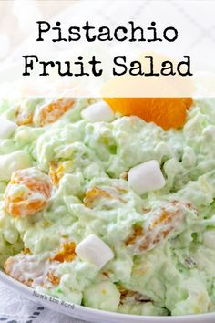 Whether you call it Pistachio Fluff, Pistachio Fruit Salad or Watergate Salad, this creamy green fruit salad with marshmallows is a hit among children and adults! A family favorite side dish at any meal which requires one bowl and can be made in advance. Watergate Salad Recipes, Fruit Salad Recipes, Chicken Salad Recipes, Jello Salads, Easy Fruit Salad, Frog Eye Salad Recipe, Creamy Fruit Salads, Fluff Desserts, Salads