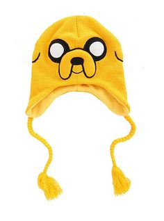 Jake the dog Beanie - A yellow beanie with the face of jake the dog using whites and blacks and two rope like things hanging down with yellow on the bottom of them. I just really like adventure time.