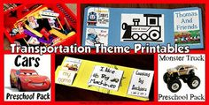 Collection of Transportation Theme printables and ideas.