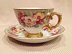 Made In Japan Hand Painted Floral Tea Cup And Saucer