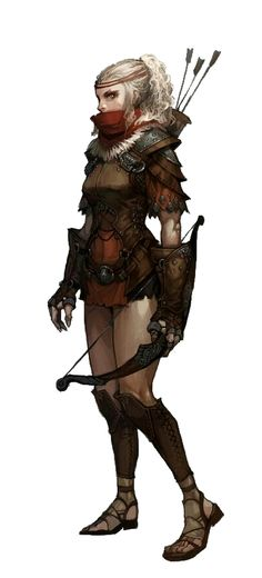 Female Human Rogue with Shortbow - Pathfinder PFRPG DND D&D d20 fantasy