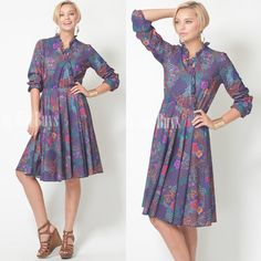 Vintage 70s Purple multicolor abstract floral dress by TrendyHipBuysVintage, $42.00