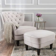 Tafton Tufted Fabric Club Chair with Ottoman by Christopher Knight Home | Overstock.com Shopping - The Best Deals on Living Room Chairs