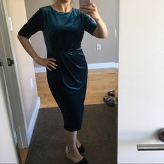 """Petrol color dress New never used i bought it from Istanbul....     90%polyester --10%Lycra""""elastan"""" Paulmark Dresses Midi"""