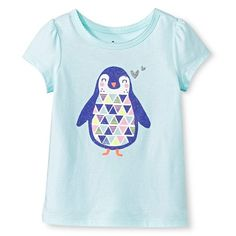 Toddler Girls' Penguin T-Shirt - Bleached Aqua