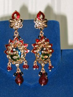 Enameled Peacock Maroon with Multi-colored Beaded Bollywood Earrings $31.99