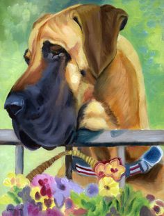 Great Dane Natural Ears Fawn in Flowers Flag Canvas House Size 7311CHF