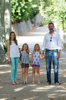 "Prince Felipe of Spain, Princess Letizia of Spain and their daugthers Princess Leonor of Spain (L) and Princess Sofia of Spain (R) visit ""La Granja"" (Big Historical Mansion) on August 5, 2013 in Esporles, Palma de Mallorca, Spain."