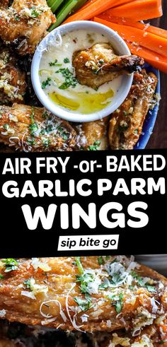 Looking for the best garlic parmesan chicken wings recipe? Today you'll learn how to make a healthier version of your favorite restaurant style wings from scratch. Learn how to make the dry rub, garlic sauce, and how to bake or air fry them… | sipbitego.com Easy Meat Recipes, Chicken Wing Recipes, Healthy Chicken Recipes, Lunch Recipes, Appetizer Recipes, Dinner Recipes, Drink Recipes, Easy Meals, Baked Garlic Parmesan Chicken