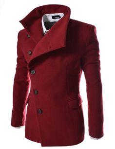 TheLees Mens Unbalance High Neck Slim PEA Coat Jacket Wine Medium(US Small) TheLees,http://www.amazon.com/dp/B00CBEMW1I/ref=cm_sw_r_pi_dp_x72Usb0R8Z72H28C