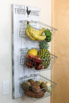 Store Your Fruits And Vegetables In Style With This DIY Produce Rack. Using Inexpensive Wire Baskets And Scrap Wood, You Can Build This Produce Rack In No Time. Funky Junk Interiors, Rooster Kitchen, Kitchen Redo, Farm Kitchen Decor, Kitchen Ideas, Ana White, Kitchen Organization, Kitchen Storage, Organization Ideas