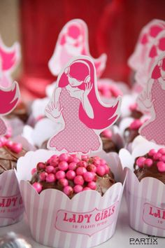 Pink Dance Themed 10th Birthday Party: Cute Cupcakes Topper