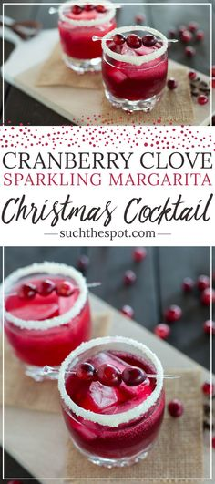 Cranberry clove sparkling margarita When it comes to drinks that are both impressive and festive, this merry margarita is a winner. Serve this at your Christmas party and Santa will definitely put you on his nice list. Best Christmas Cocktails, Holiday Cocktails, Christmas Drinks Alcohol, Christmas Mocktails, Holiday Parties, Pina Colada, Margarita Recipes, Cocktail Recipes, Noel Christmas