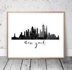 Cuadro Skyline New York Acuarela Negro