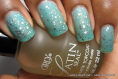 "Silver sparkle ""Sea Glass""/matte nails from ""another bottle of polish?!"" LOVE IT!"