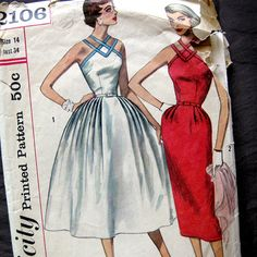 1950s Vintage Sewing Pattern  Bombshell Dress  by SelvedgeShop, $26.00