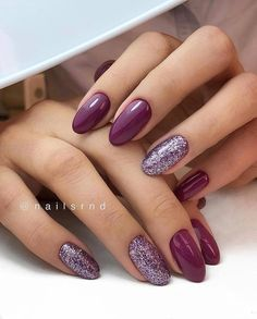 Trendy Manicure Ideas In Fall Nail Colors;Purple Nails; Fall Nai… Trendy Manicure Ideas In Fall Nail Colors;Purple Nails; Fun Nails, Pretty Nails, Wedding Nails Design, Purple Wedding Nails, Winter Wedding Nails, Winter Weddings, Autumn Nails, Fall Nail Colors, Winter Colors
