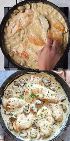 Garlic Mushroom Sauce, Creamy Mushroom Chicken, Creamy Garlic Mushrooms, Chicken Mushroom Recipes, Garlic Sauce, Creamy Garlic Chicken, Chicken Recipes Video, Baked Chicken Recipes, Potato Recipes