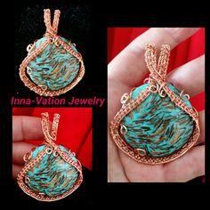 Gold Copper Bornite stone, #wire #wrapped #pendant.