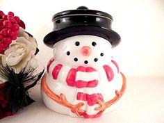 Cookie Jar Ceramic Snowman Vintage Houston Harvest Christmas Kitchen Decor Food Storage Container Pet Treats Covered Jar