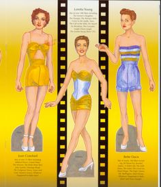 Paper dolls of Joan Crawford, Loretta Young and Bette Davis from Classic Drama Queens book with 10 pages of costumes to cut-out.  Available for purchase at paperdollreview.com