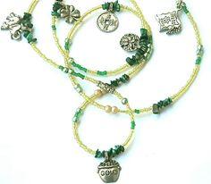 Abundance & Prosperity Waist Beads With Malachite by WrapandSoul, $20.00