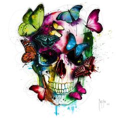 Soul's Colors, painting made in 2016 by French artist Patrice Murciano, original work: cm mixed technique on canvas. Get it now, exclusively at RageOn. Designed by: Patrice Murciano. Skull Painting, Diy Painting, Painting Canvas, Painting Clouds, Murciano Art, Patrice Murciano, Swan Animal, Images D'art, Colorful Skulls