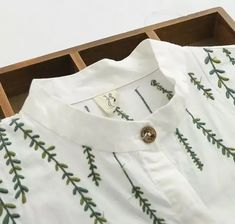 small fresh Willow embroidery cotton Turn-down collar long sleeve white long shi. - small fresh Willow embroidery cotton Turn-down collar long sleeve white long shirt blouse mori girl 2016 summer image Source by - Embroidery On Clothes, Embroidered Clothes, Embroidery Fashion, Hand Embroidery Patterns, Diy Embroidery, Embroidery Stitches, Machine Embroidery, Embroidery Letters, Japanese Embroidery