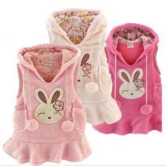 New Girls Vest Tops Kid Coral Velvet Rabbit Princess Dress 2-7Y Clothes AD043