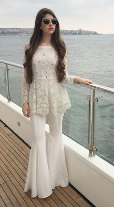 Flora by IVY. Lace Top with Swarovski Crystals, Silk Gharara Pants