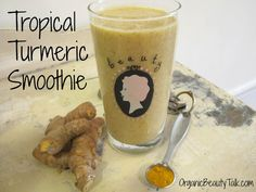 "Tropical Turmeric Smoothie Recipe Directions:  Fill blender with…      8 oz unsweetened almond milk     ½ tsp turmeric     ½"" piece fresh ginger     1 cup frozen pineapple     ½ frozen banana     1 tsp coconut oil     1 tsp chia seeds  Blend ingredients until smooth and enjoy your organic Tropical Turmeric Smoothie."