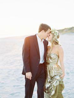 Elegant Gold Beach Engagement Shoot - Style Me Pretty