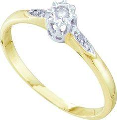 10KT Yellow Gold 0.06CTW DIAMOND BRIDAL RING: Rings