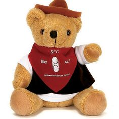 """Stuffed 10"""" bear plush toy animal in a cowboy outfit. Uniform and professional bears work hard to promote your company. Accessories priced separately. Stuffed Animal, plush toy, stuffed toy, custom."""