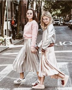metallic midi skirts and sneakers