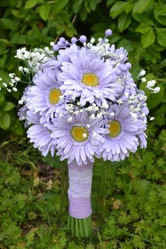Hand Tied Lavender Gerber Daisies With Babies Breath Bridal Bouquet!