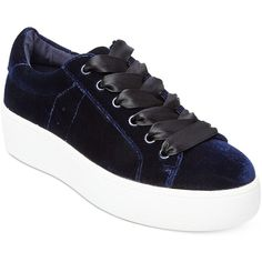 Steve Madden Women's Bertie Velvet Lace-Up Sneakers ($69) ❤ liked on Polyvore featuring shoes, sneakers, blue velvet, platform lace up shoes, steve madden sneakers, retro sneakers, platform trainers and steve-madden shoes