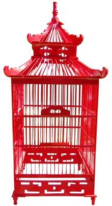 Chinoiserie bird cage red- love this. There is a project here.
