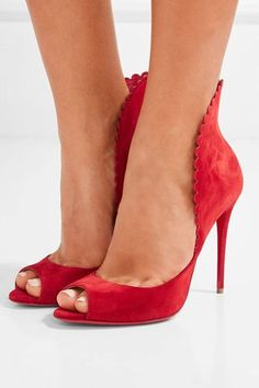 Christian Louboutin - Pijonina Scalloped Suede Pumps - Red - IT38.5